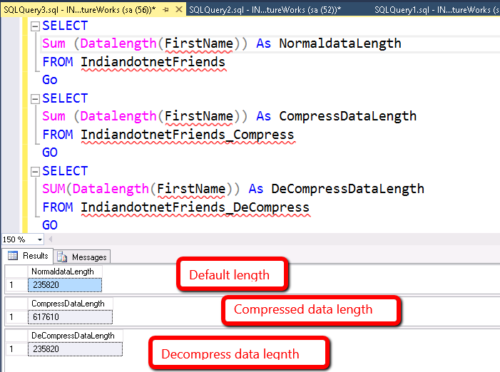 Data length with compress