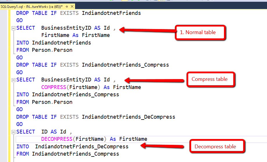 SQL SERVER Compress function