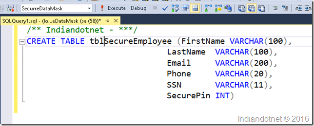 Create_Table_Secure_Employee